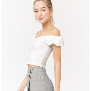 NWT Off Shoulder White Puff Sleeve Top